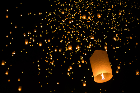 newyears: balloon fire yeepeng in north Thailand  chiangmai. Stock Photo