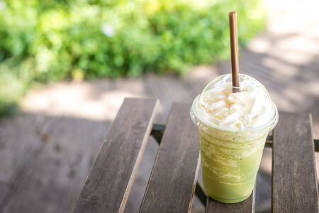 green' white: matcha green tea smoothie whipped cream Stock Photo