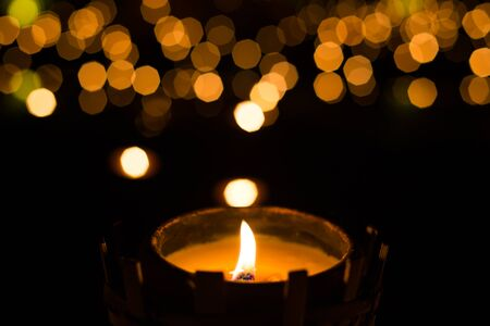 candle lights: candle light with bokeh, hope concept. Stock Photo