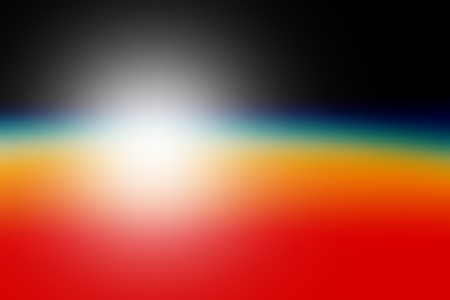 orbital: Orbital view on an extraterrestrial Earth-like planet with atmosphere and a sun rising above it abstract background Stock Photo