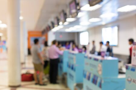 lounges: Blur background airline check-in counter.