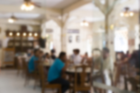 Blurred background : Customer at restaurant blur background with bokeh. Stok Fotoğraf