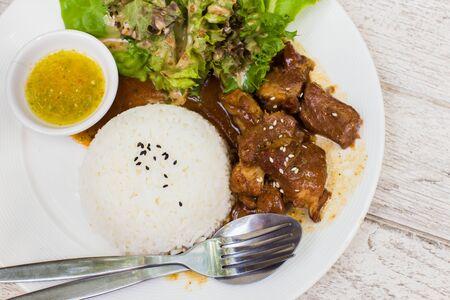 japanese cookery: Teriyaki pork with jasmine rice.