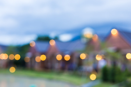 residential tree service: blur village background. Stock Photo