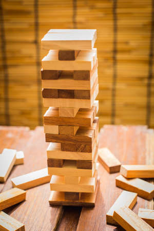 tower block: Wood block tower game for children.