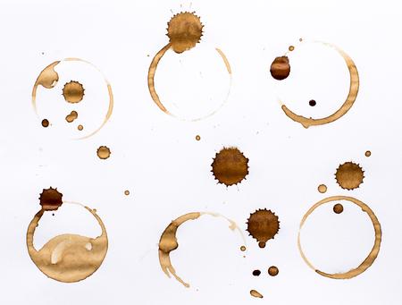 コーヒーのしみリング グランジ Design.5 の白い背景の分離したセット