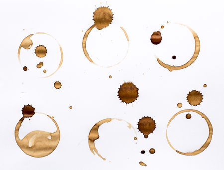 Coffee Stain Rings Set Isolated On White Background for Grunge Design.5 Archivio Fotografico