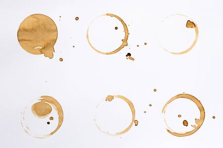 ring: Coffee Stain Rings Set Isolated On White Background for Grunge Design.5 Stock Photo