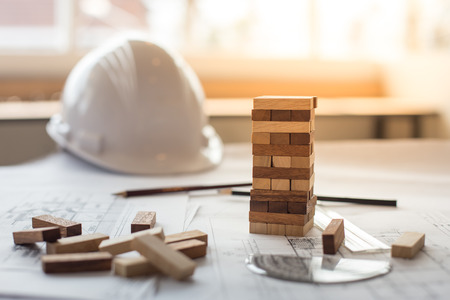 blueprint wooden block  tower, Planning, risk and strategy in business or architectural project