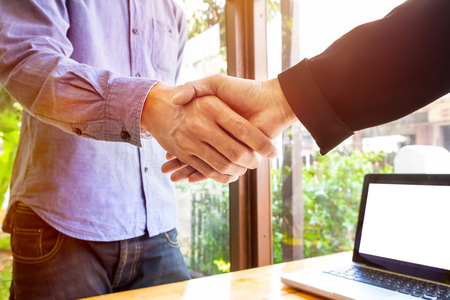 only two people: Two business men shaking hands. Stock Photo
