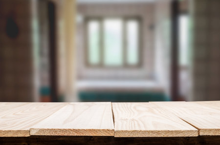 Empty wooden table and room interior decoration background, product montage display,window background. Stock Photo