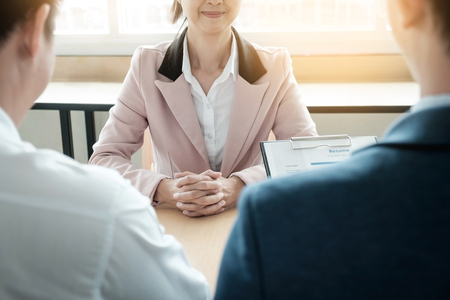 beautiful woman and her job interview in office (work).