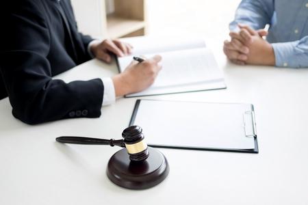 변호사와 판사 디노는 법률 회사에서 합법적으로 조언합니다. 법률, 서비스의 개념. 스톡 콘텐츠 - 84187003