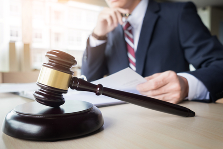 gavel and soundblock fo justice law and lawyer working on wooden desk background Stock Photo