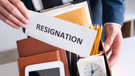 Employees who intend to quit work with resignation letters for quit or change of job leaving the office, unemployment, resigned concept.