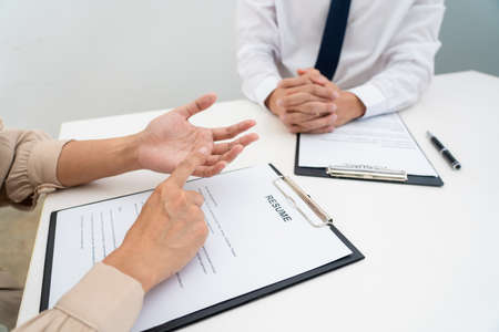 Interview the job and hiring, businessman candidate at job interview explaining about his profile to business manager in modern office space. Business consulting or employment concept