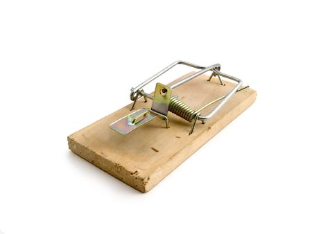 forbidden love: Wooden mousetrap. The photo contains Clipping Path.