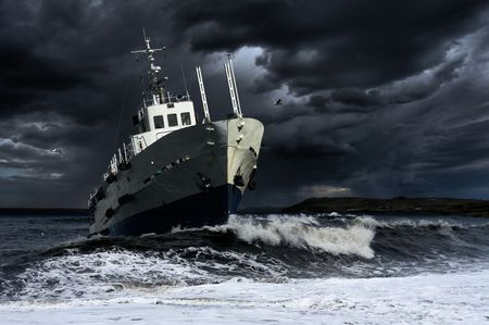 storm waves: Ship on the storm sea