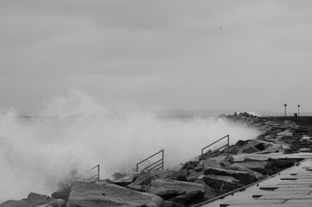 Storm surge in Sassnitz on the Baltic Sea