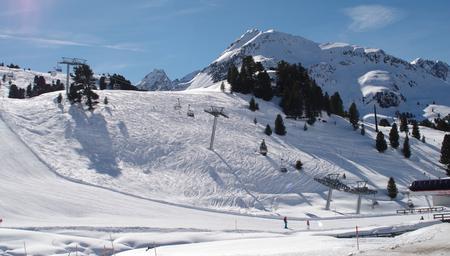 halfpipe: Ski slopes in the Stubai Alps in Austria