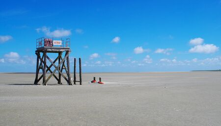 Emergency call in the wadden of the North Sea near Westerhever