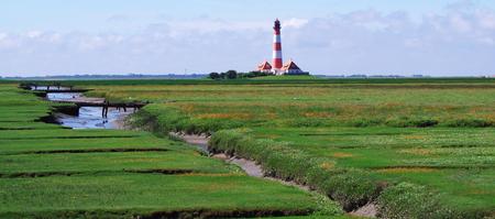 westerhever: Lighthouse of Westerhever on the North Sea