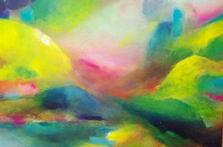 Abstrakte Malerei mit Acrylfarben - abstrakte Landschaft Standard-Bild - 98422336