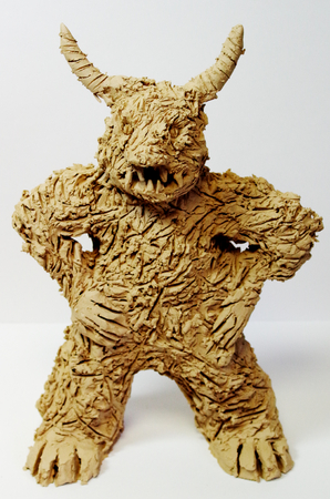 Anger figure made of clay from art therapy Standard-Bild - 98908681