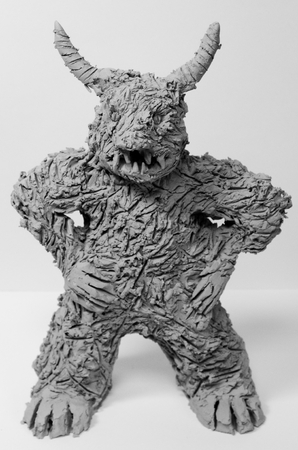 Anger figure made of clay from art therapy Standard-Bild - 98899309