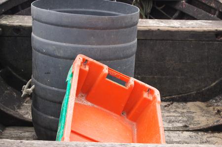Fish tank in fishing boat 스톡 콘텐츠
