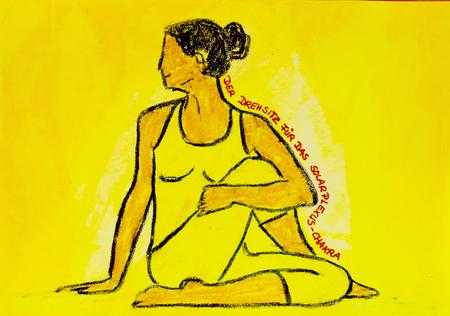 painted yoga asana from the swivel seat for the solar plexus Chakra Standard-Bild - 104701519