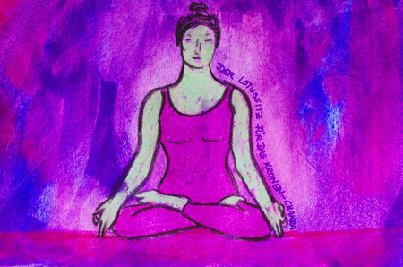painted yoga asana from the Lotus Seat for the crown chakra Standard-Bild - 104701520