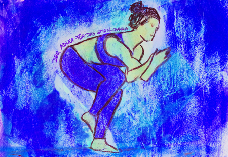painted yoga asana from the eagle for the forehead chakra Standard-Bild - 104701521