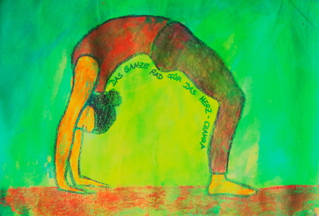 painted yoga asana from the wheel for the heart chakra