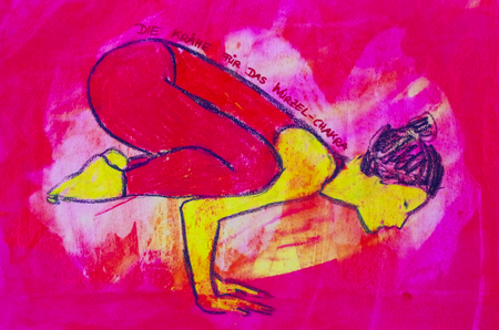 painted yoga asana from the crow for the root chakra Standard-Bild - 104701524