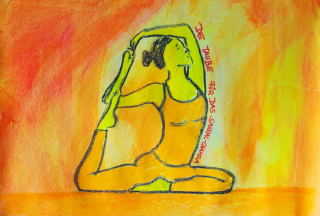 painted yoga asana from the dove for the sacral chakra Standard-Bild - 104701525