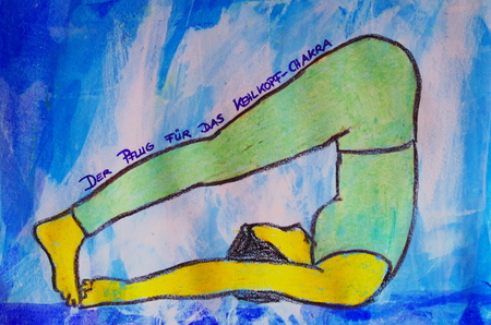 painted yoga asana from the plow for the laryngeal chakra Standard-Bild - 104701526