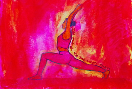 painted yoga asana from the Warrior for the Root Chakra Standard-Bild - 104701527