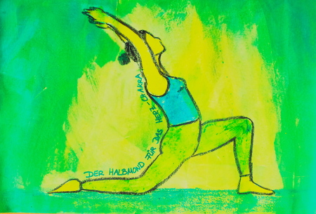 painted yoga asana from the Crescent for the Heart Chakra Standard-Bild - 104701528