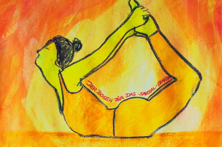 painted yoga asana from the arch for the sacral chakra Standard-Bild - 104701529
