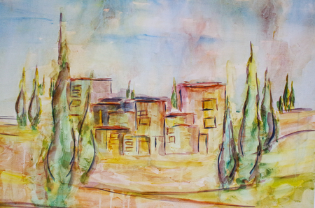 painted villa in Tuscany Standard-Bild - 104701530