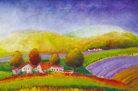 painted lavender fields in Tuscany Standard-Bild - 104701642