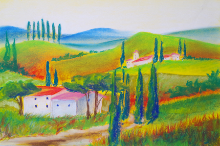 Landscape painted in pastel crayon in Tuscany Standard-Bild - 104701644