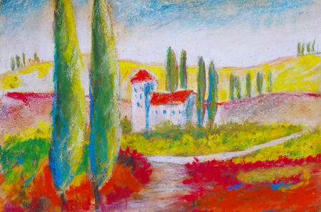 painted picture of a landscape in Tuscany Standard-Bild - 104701647