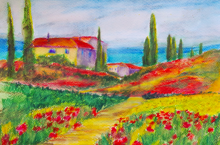 painted watercolor of a house in Tuscany Standard-Bild - 104701648