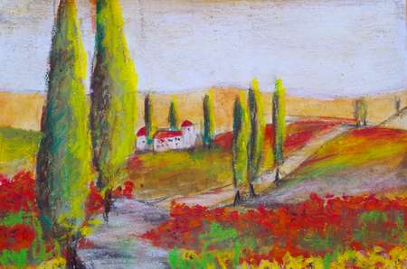 painted picture of a landscape in Tuscany Standard-Bild - 104701649