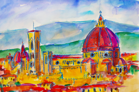 painted watercolor from the cathedral in Florence Standard-Bild - 104701650