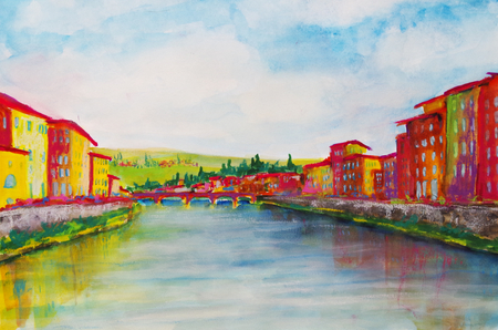 painted watercolor from the river Arno in Florence Standard-Bild - 104701651