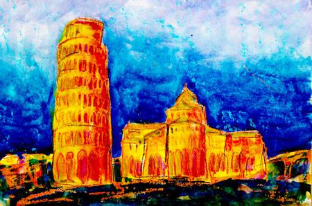 The Leaning Tower of Pisa in Italy, painted with watercolor and oil chalk Standard-Bild - 104701652