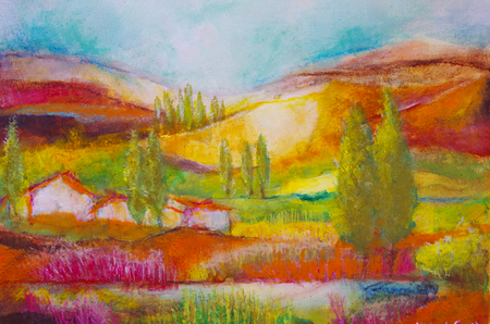 with acrylic painted landscape in Tuscany Standard-Bild - 104701653